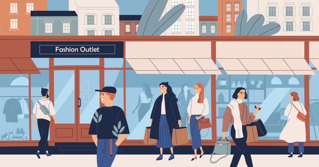 ilustración tienda de ropa por fuera con personas caminando